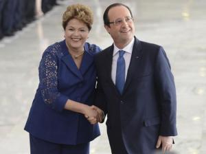 Dilma Rousseff recebe o presidente da França, François Hollande, no Palácio do Planalto