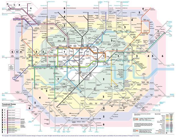 Mapa do Metrô de Londres dividido pelas zonas
