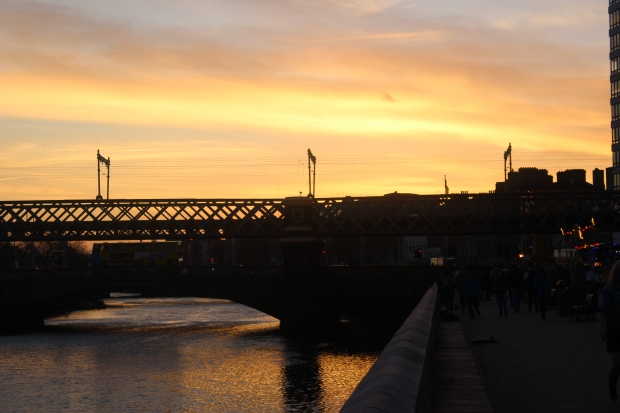 Por do sol em Dublin