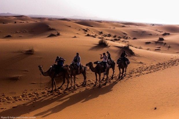 Foto de outros Turistas sobre o camelo